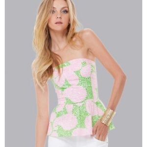 Lilly Pulitzer Peplum Strapless Top